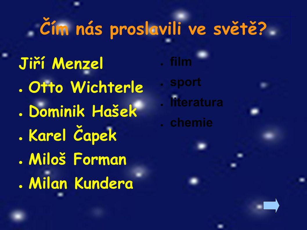 Jiří Menzel ● Otto Wichterle ● Dominik Hašek ● Karel Čapek ● Miloš Forman ● Milan Kundera Čím nás proslavili ve světě.