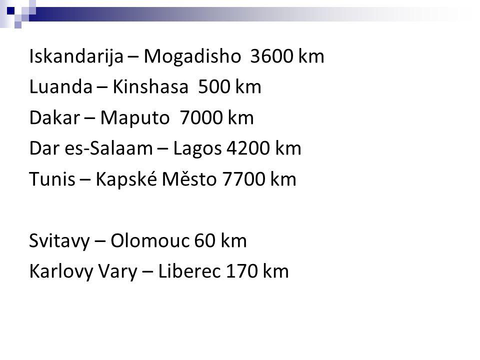 Iskandarija – Mogadisho 3600 km Luanda – Kinshasa 500 km Dakar – Maputo 7000 km Dar es-Salaam – Lagos 4200 km Tunis – Kapské Město 7700 km Svitavy – Olomouc 60 km Karlovy Vary – Liberec 170 km
