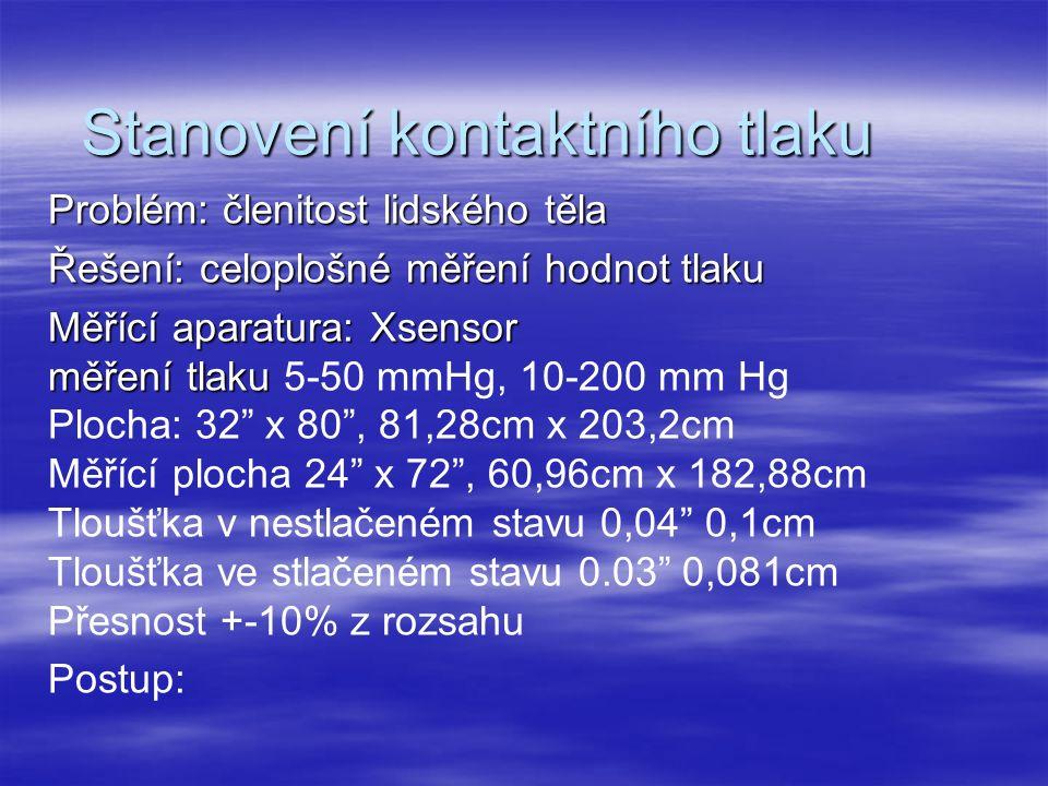 Stanovení kontaktního tlaku Problém: členitost lidského těla Řešení: celoplošné měření hodnot tlaku Měřící aparatura: Xsensor měření tlaku měření tlaku 5-50 mmHg, 10-200 mm Hg Plocha: 32 x 80 , 81,28cm x 203,2cm Měřící plocha 24 x 72 , 60,96cm x 182,88cm Tloušťka v nestlačeném stavu 0,04 0,1cm Tloušťka ve stlačeném stavu 0.03 0,081cm Přesnost +-10% z rozsahu Postup: