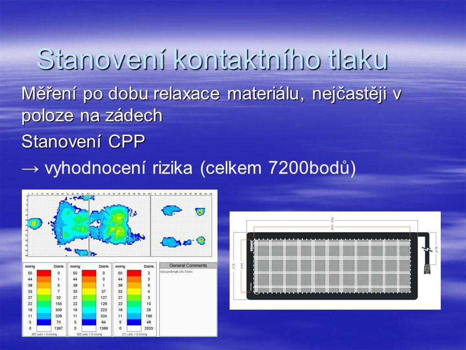 Stanovení kontaktního tlaku Měření po dobu relaxace materiálu, nejčastěji v poloze na zádech Stanovení CPP → vyhodnocení rizika (celkem 7200bodů)