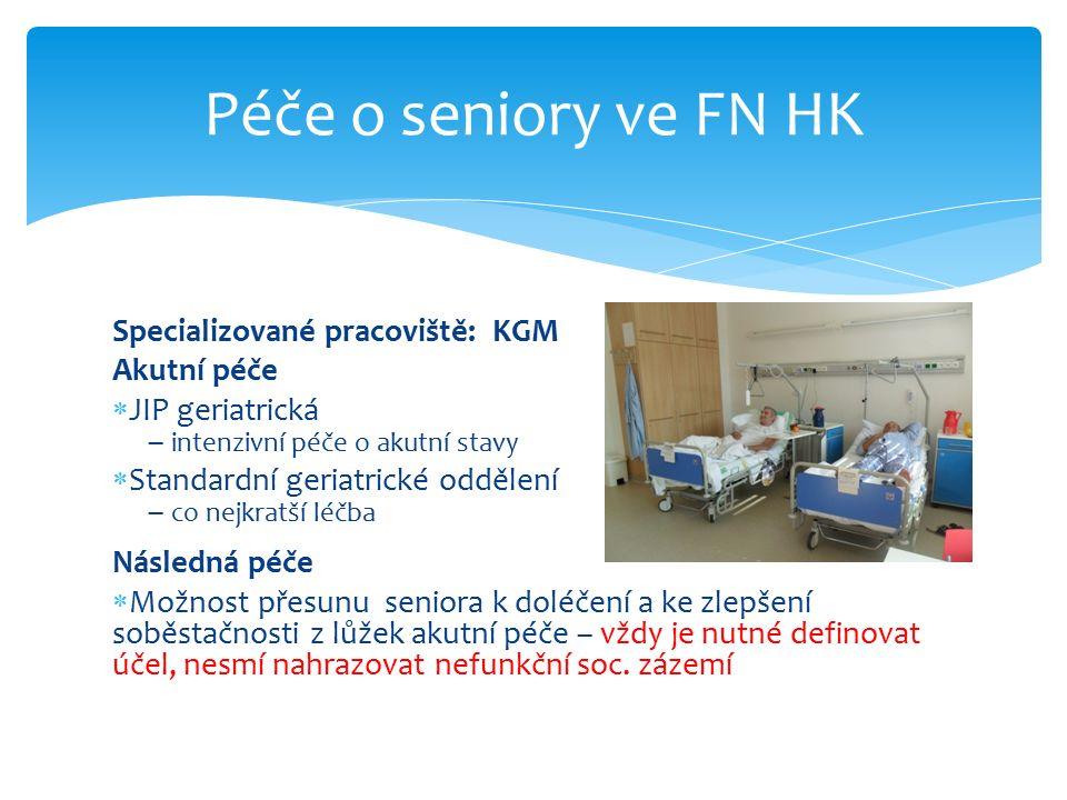 Specializované pracoviště: KGM Akutní péče  JIP geriatrická – intenzivní péče o akutní stavy  Standardní geriatrické oddělení – co nejkratší léčba N