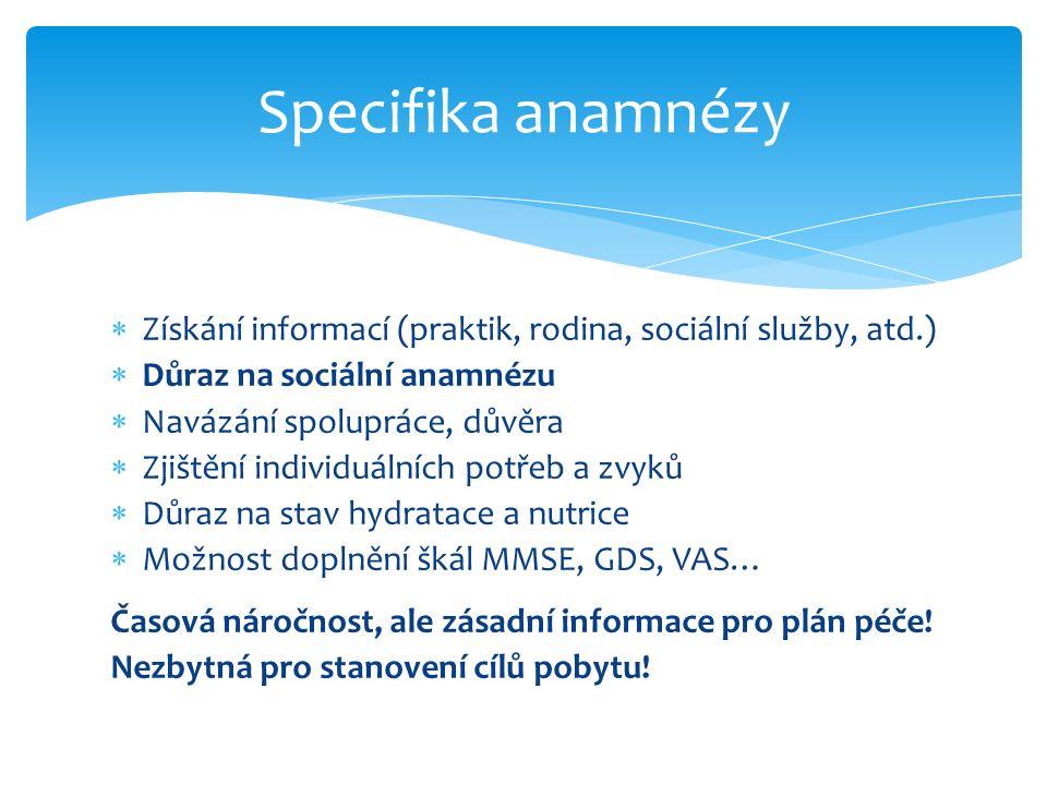  Získání informací (praktik, rodina, sociální služby, atd.)  Důraz na sociální anamnézu  Navázání spolupráce, důvěra  Zjištění individuálních potř