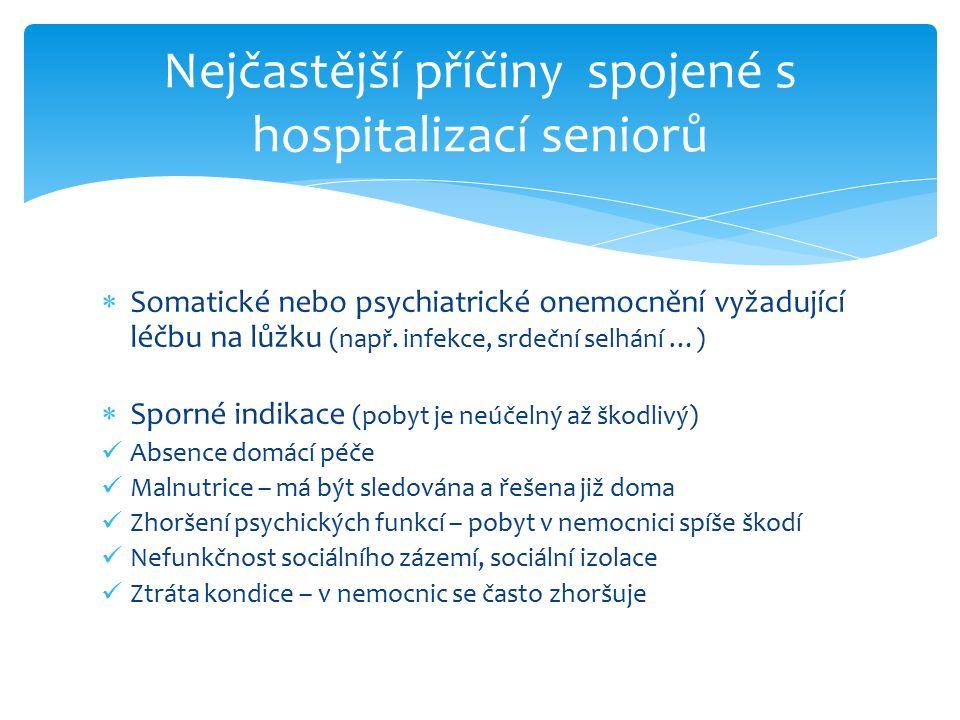  Somatické nebo psychiatrické onemocnění vyžadující léčbu na lůžku (např. infekce, srdeční selhání …)  Sporné indikace (pobyt je neúčelný až škodliv