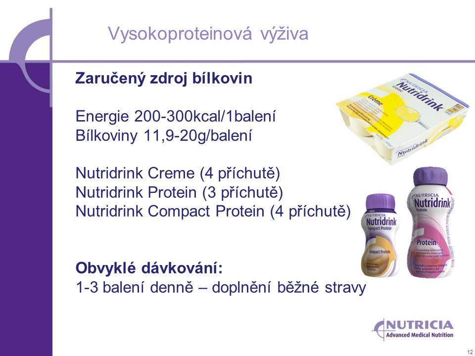 12 Vysokoproteinová výživa Zaručený zdroj bílkovin Energie 200-300kcal/1balení Bílkoviny 11,9-20g/balení Nutridrink Creme (4 příchutě) Nutridrink Prot