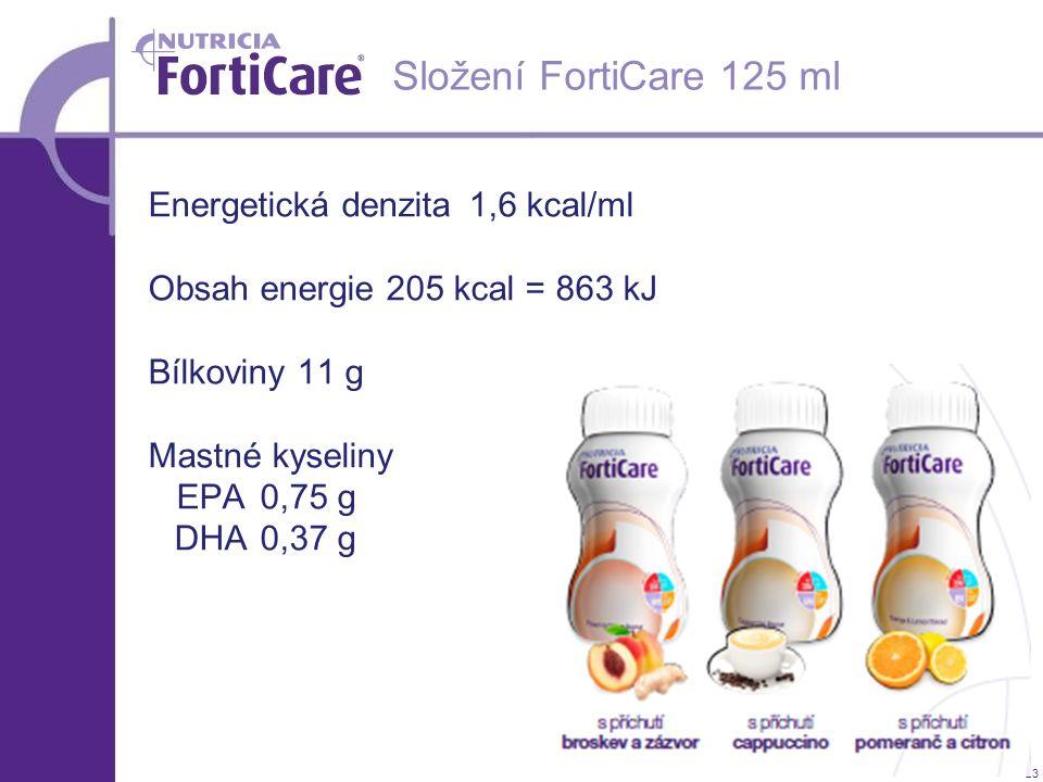 23 Složení FortiCare 125 ml Energetická denzita 1,6 kcal/ml Obsah energie 205 kcal = 863 kJ Bílkoviny 11 g Mastné kyseliny EPA 0,75 g DHA 0,37 g