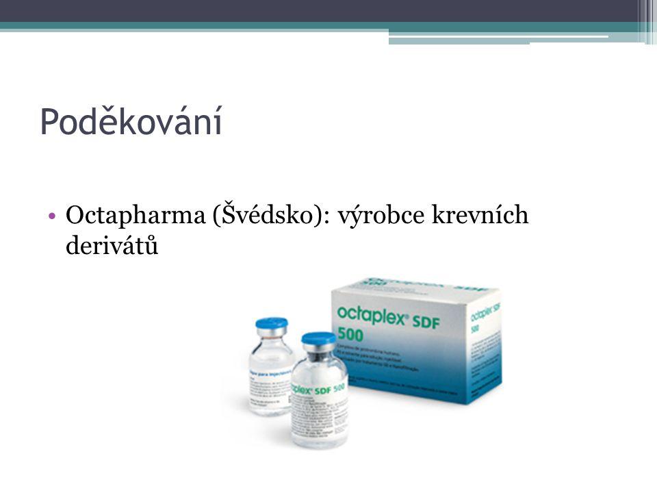 Poděkování Octapharma (Švédsko): výrobce krevních derivátů