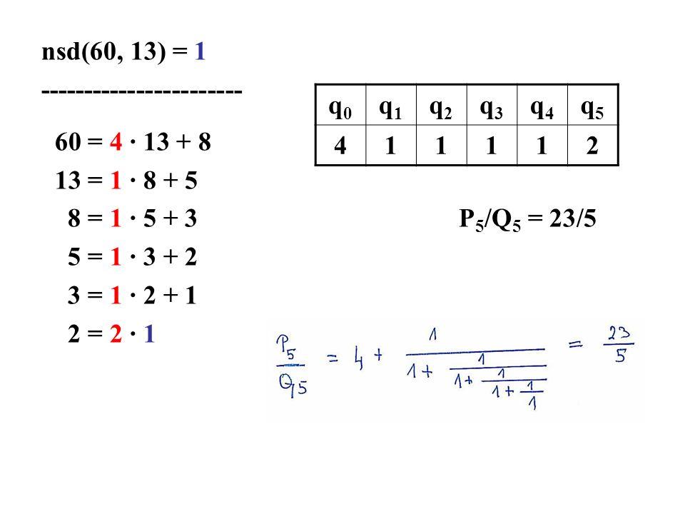 nsd(60, 13) = 1 ----------------------- 60 = 4 · 13 + 8 13 = 1 · 8 + 5 8 = 1 · 5 + 3 P 5 /Q 5 = 23/5 5 = 1 · 3 + 2 3 = 1 · 2 + 1 2 = 2 · 1 q0q0 q1q1 q2q2 q3q3 q4q4 q5q5 411112