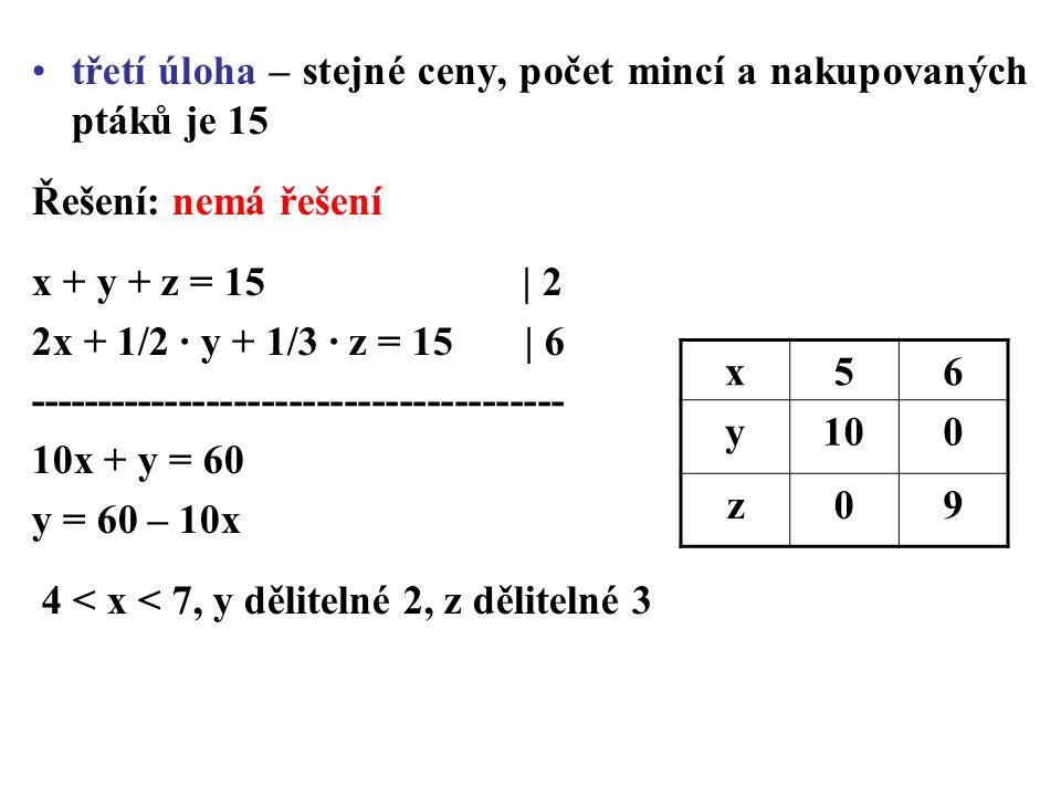 třetí úloha – stejné ceny, počet mincí a nakupovaných ptáků je 15 Řešení: nemá řešení x + y + z = 15 | 2 2x + 1/2 · y + 1/3 · z = 15 | 6 --------------------------------------- 10x + y = 60 y = 60 – 10x 4 < x < 7, y dělitelné 2, z dělitelné 3 x56 y100 z09