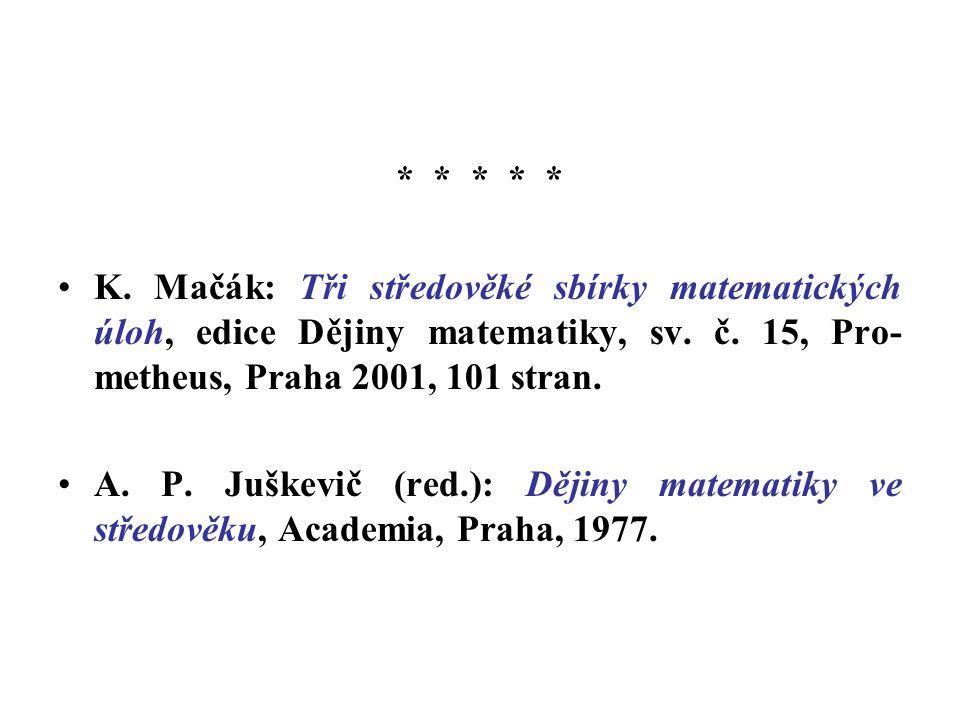 * * * * * K. Mačák: Tři středověké sbírky matematických úloh, edice Dějiny matematiky, sv.
