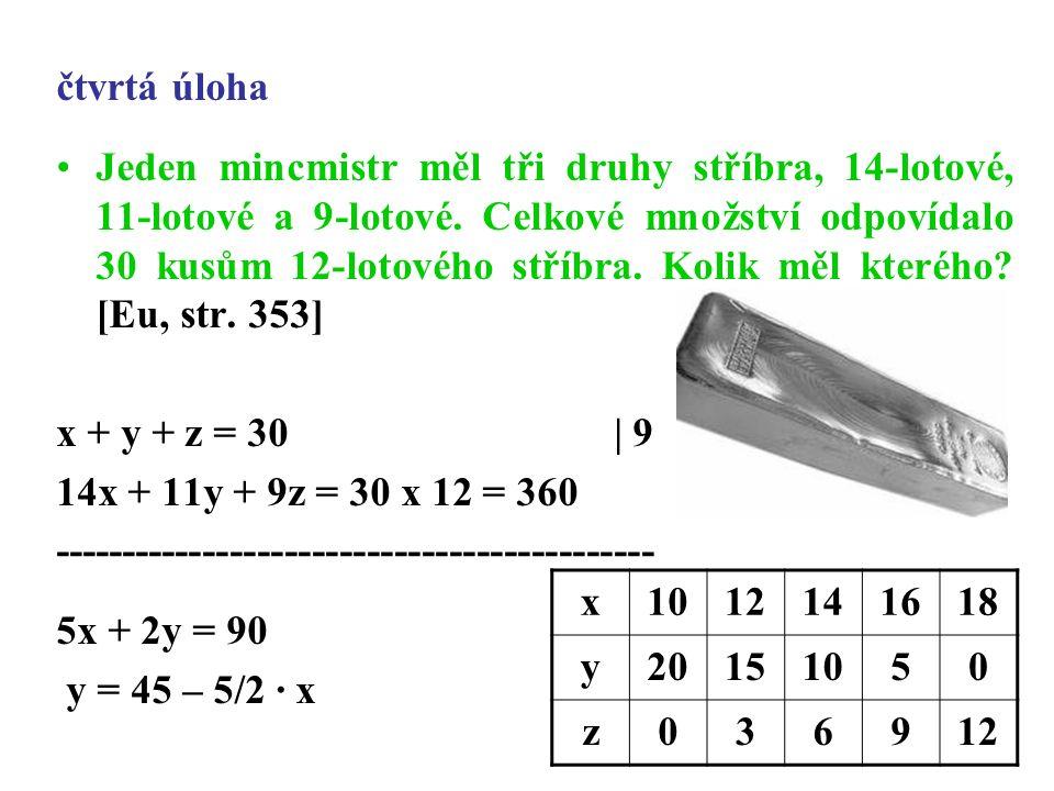 čtvrtá úloha Jeden mincmistr měl tři druhy stříbra, 14-lotové, 11-lotové a 9-lotové.