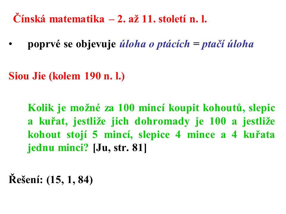 Čínská matematika – 2.až 11. století n. l.