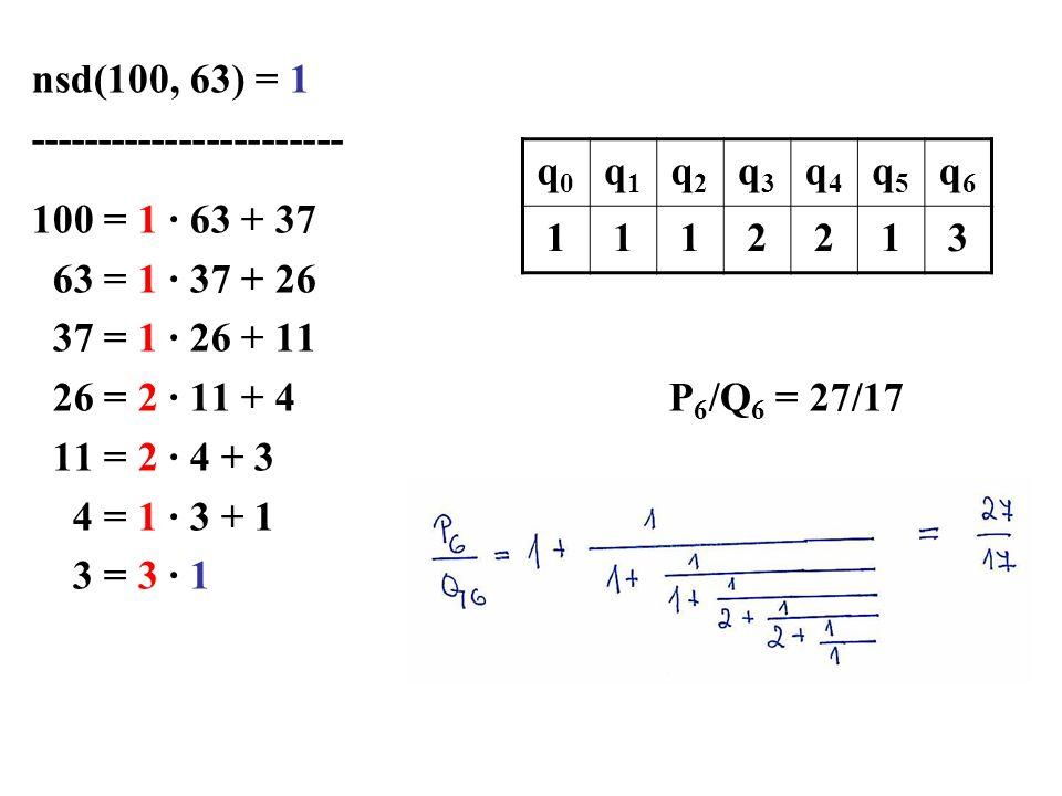 nsd(100, 63) = 1 ----------------------- 100 = 1 · 63 + 37 63 = 1 · 37 + 26 37 = 1 · 26 + 11 26 = 2 · 11 + 4P 6 /Q 6 = 27/17 11 = 2 · 4 + 3 4 = 1 · 3 + 1 3 = 3 · 1 q0q0 q1q1 q2q2 q3q3 q4q4 q5q5 q6q6 1112213