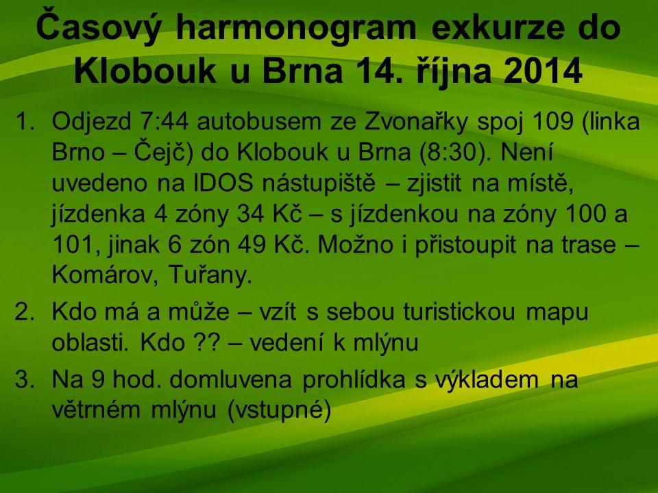 Časový harmonogram exkurze do Klobouk u Brna 14.