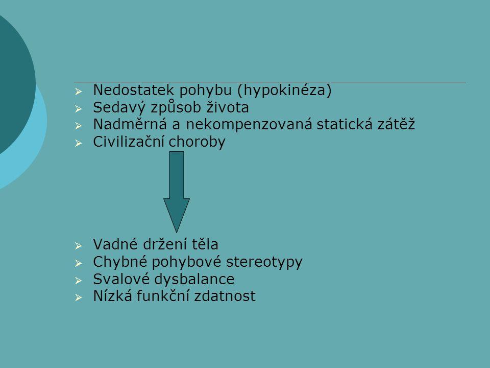  Nedostatek pohybu (hypokinéza)  Sedavý způsob života  Nadměrná a nekompenzovaná statická zátěž  Civilizační choroby  Vadné držení těla  Chybné pohybové stereotypy  Svalové dysbalance  Nízká funkční zdatnost