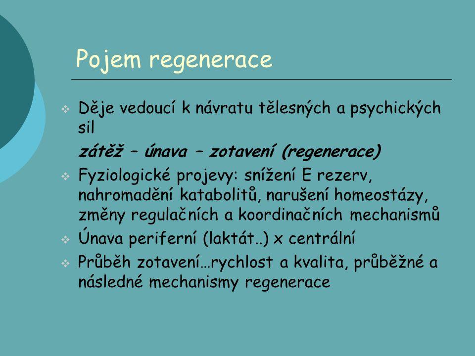 Pojem regenerace  Děje vedoucí k návratu tělesných a psychických sil zátěž – únava – zotavení (regenerace)  Fyziologické projevy: snížení E rezerv, nahromadění katabolitů, narušení homeostázy, změny regulačních a koordinačních mechanismů  Únava periferní (laktát..) x centrální  Průběh zotavení…rychlost a kvalita, průběžné a následné mechanismy regenerace