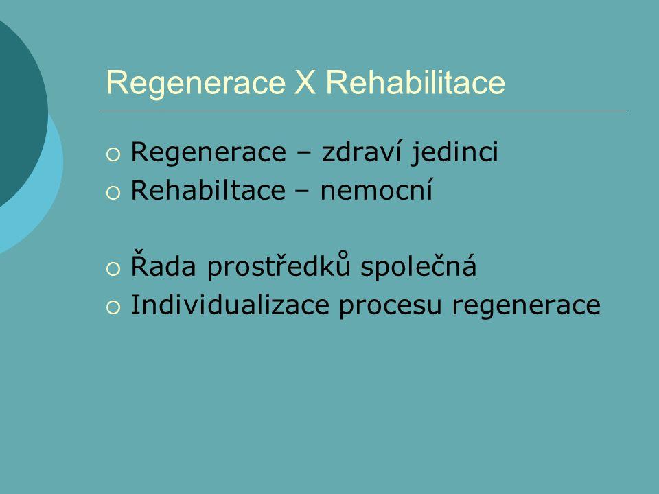 Regenerace X Rehabilitace  Regenerace – zdraví jedinci  Rehabiltace – nemocní  Řada prostředků společná  Individualizace procesu regenerace