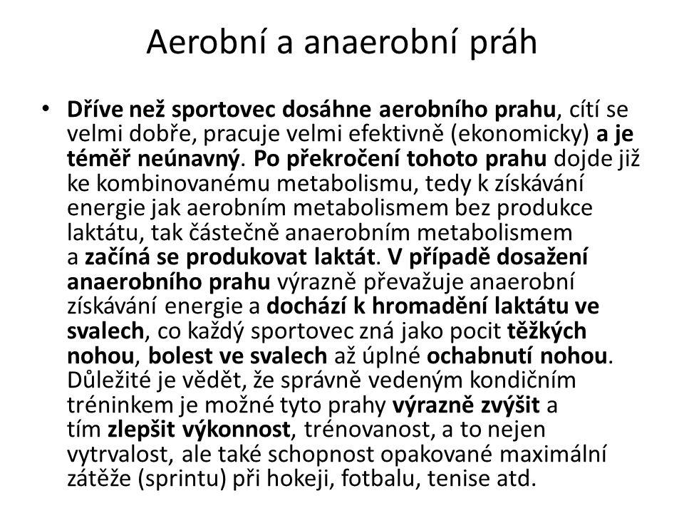 Aerobní a anaerobní práh Dříve než sportovec dosáhne aerobního prahu, cítí se velmi dobře, pracuje velmi efektivně (ekonomicky) a je téměř neúnavný.