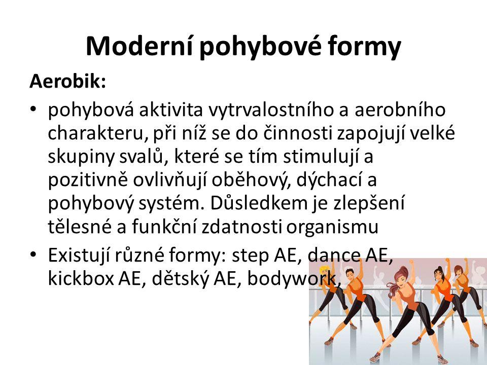 Moderní pohybové formy Aerobik: pohybová aktivita vytrvalostního a aerobního charakteru, při níž se do činnosti zapojují velké skupiny svalů, které se tím stimulují a pozitivně ovlivňují oběhový, dýchací a pohybový systém.