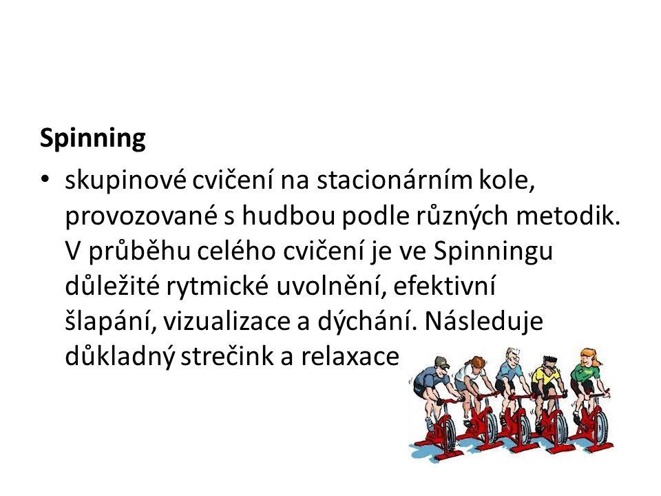 Spinning skupinové cvičení na stacionárním kole, provozované s hudbou podle různých metodik.