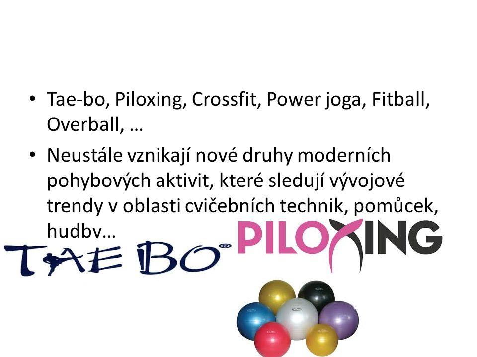 Tae-bo, Piloxing, Crossfit, Power joga, Fitball, Overball, … Neustále vznikají nové druhy moderních pohybových aktivit, které sledují vývojové trendy v oblasti cvičebních technik, pomůcek, hudby…