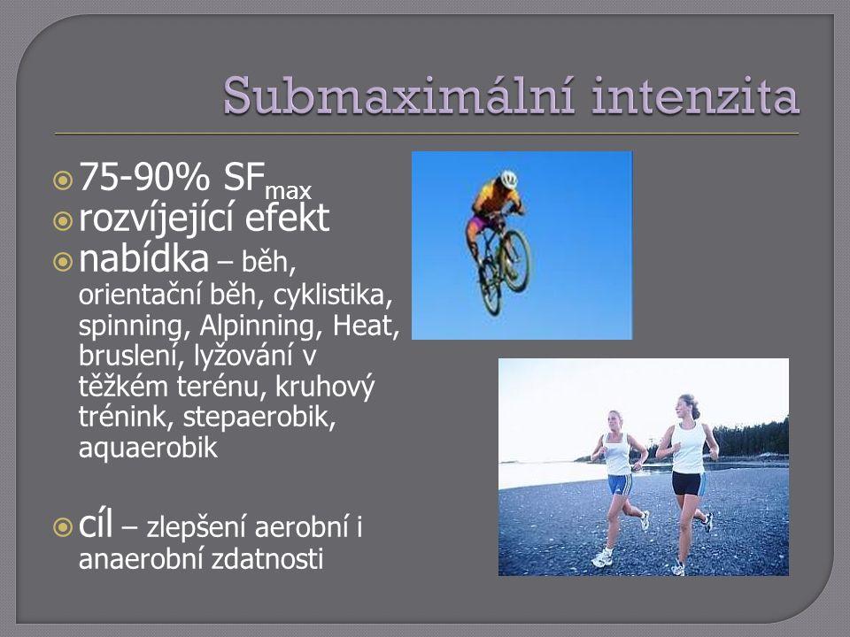  75-90% SF max  rozvíjející efekt  nabídka – běh, orientační běh, cyklistika, spinning, Alpinning, Heat, bruslení, lyžování v těžkém terénu, kruhov