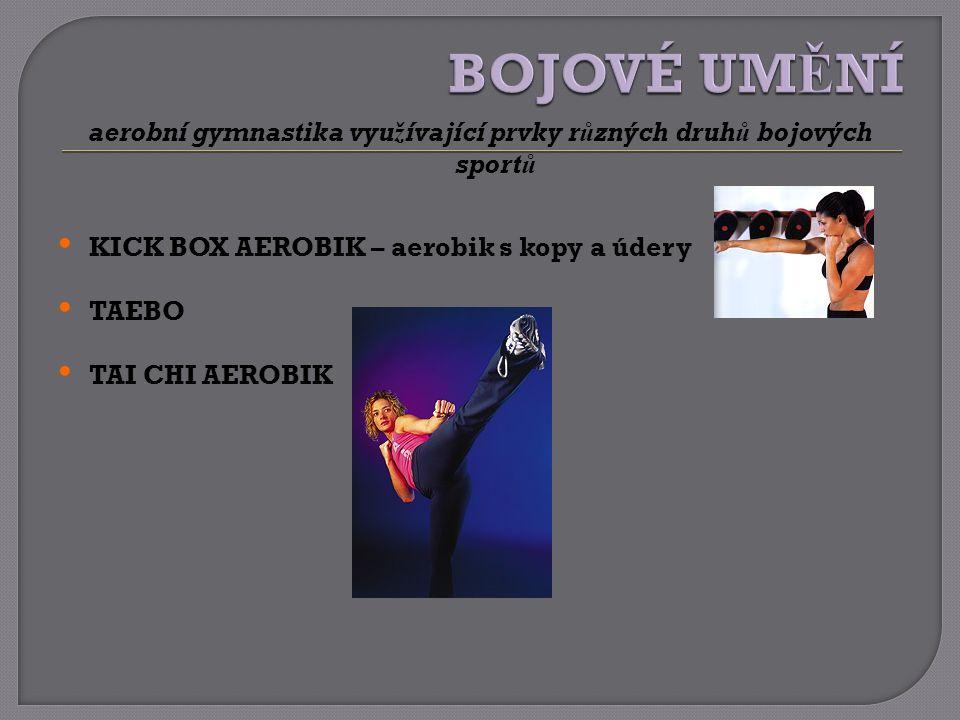 aerobní gymnastika využívající prvky různých druhů bojových sportů KICK BOX AEROBIK – aerobik s kopy a údery TAEBO TAI CHI AEROBIK