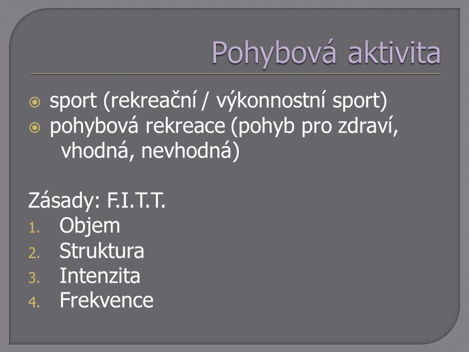  sport (rekreační / výkonnostní sport)  pohybová rekreace (pohyb pro zdraví, vhodná, nevhodná) Zásady: F.I.T.T. 1. Objem 2. Struktura 3. Intenzita 4