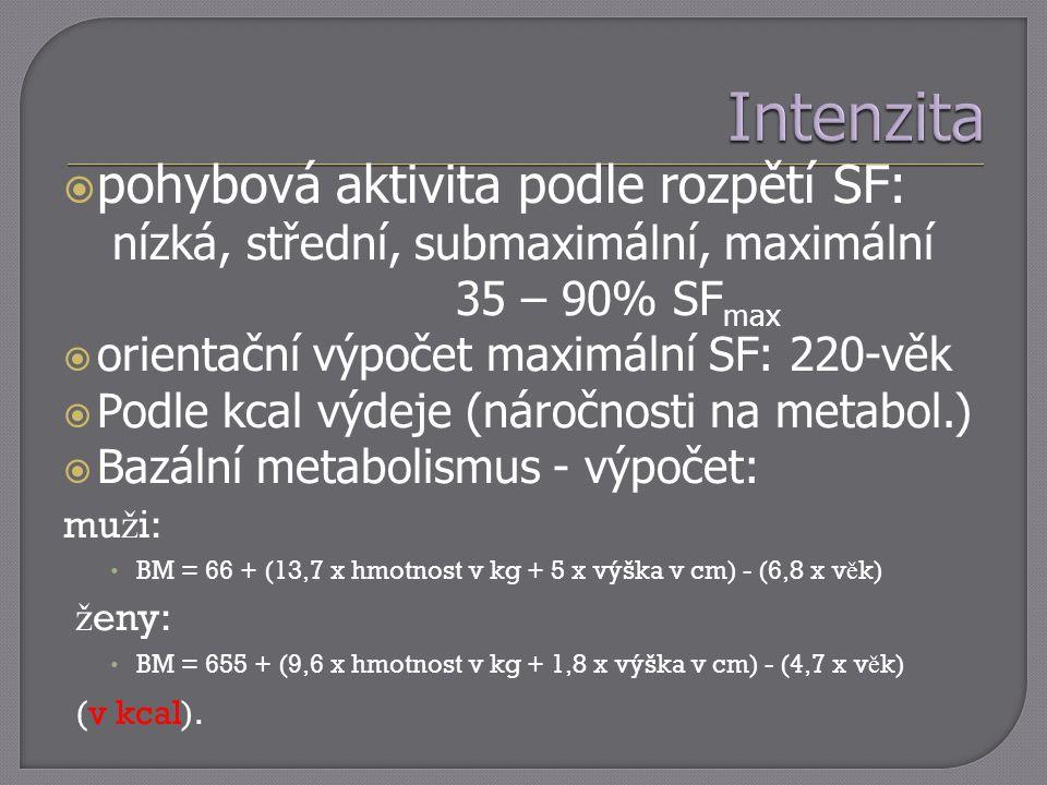  pohybová aktivita podle rozpětí SF: nízká, střední, submaximální, maximální 35 – 90% SF max  orientační výpočet maximální SF: 220-věk  Podle kcal