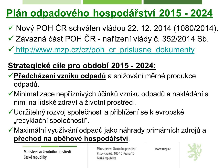 Plán odpadového hospodářství 2015 - 2024 Nový POH ČR schválen vládou 22.