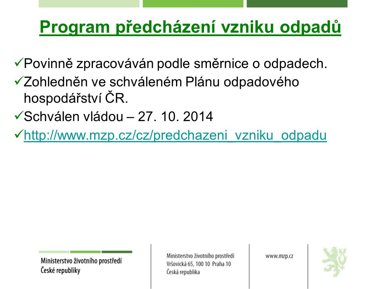 Program předcházení vzniku odpadů Povinně zpracováván podle směrnice o odpadech.