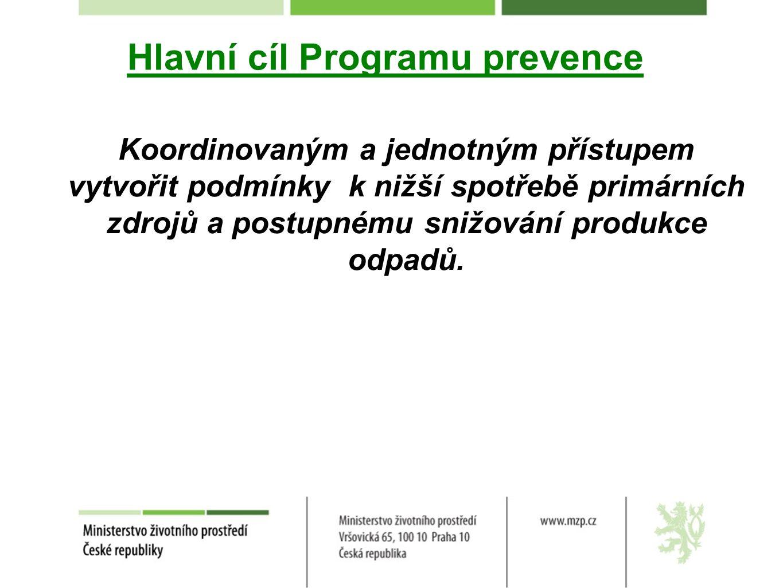 Hlavní cíl Programu prevence Koordinovaným a jednotným přístupem vytvořit podmínky k nižší spotřebě primárních zdrojů a postupnému snižování produkce odpadů.