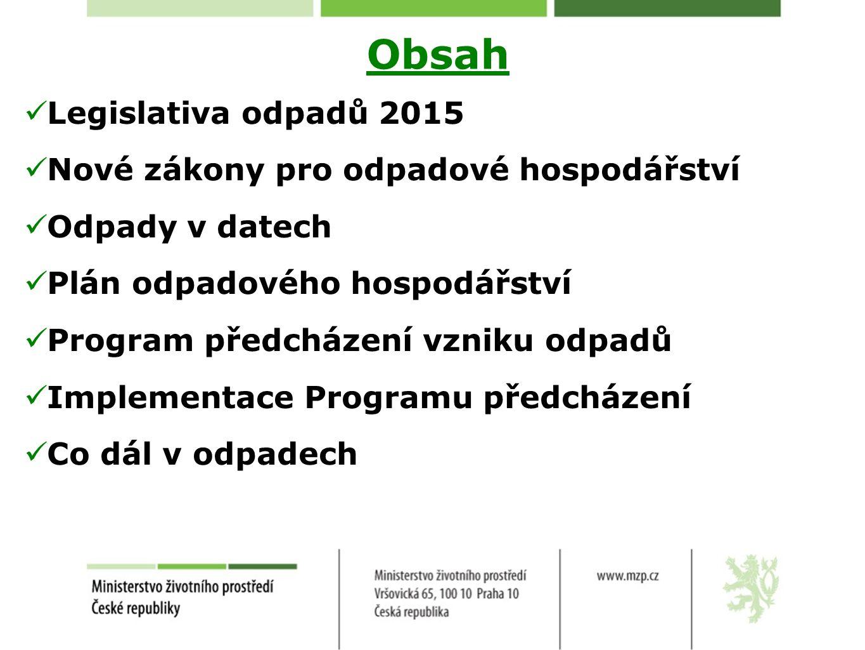 Obsah Legislativa odpadů 2015 Nové zákony pro odpadové hospodářství Odpady v datech Plán odpadového hospodářství Program předcházení vzniku odpadů Implementace Programu předcházení Co dál v odpadech