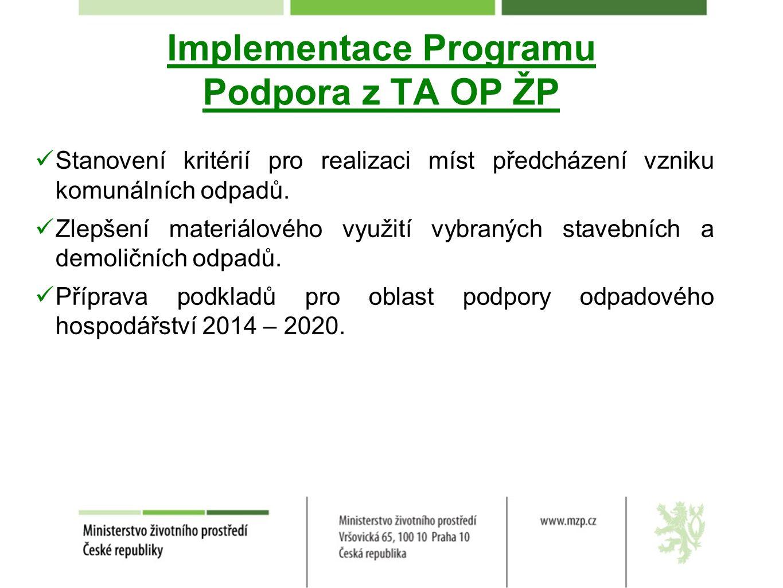 Implementace Programu Podpora z TA OP ŽP Stanovení kritérií pro realizaci míst předcházení vzniku komunálních odpadů.