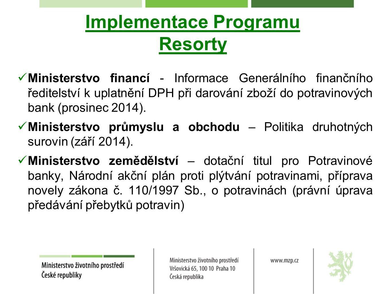 Implementace Programu Resorty Ministerstvo financí - Informace Generálního finančního ředitelství k uplatnění DPH při darování zboží do potravinových bank (prosinec 2014).
