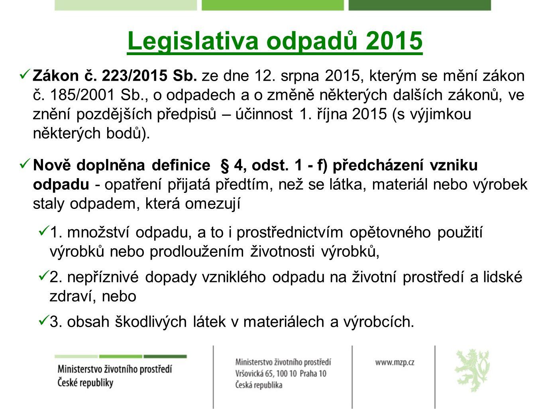 Legislativa odpadů 2015 Zákon č. 223/2015 Sb. ze dne 12.