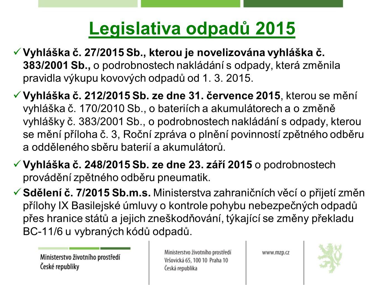 Legislativa odpadů 2015 Vyhláška č. 27/2015 Sb., kterou je novelizována vyhláška č.