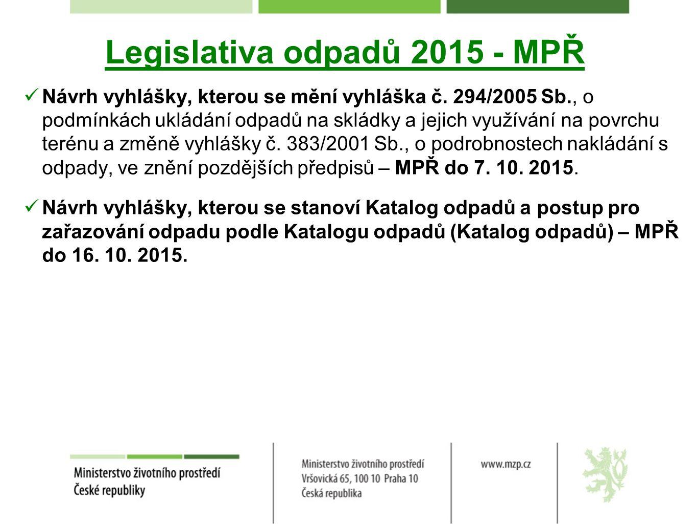 Legislativa odpadů 2015 - MPŘ Návrh vyhlášky, kterou se mění vyhláška č.