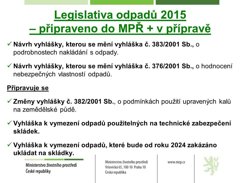 Legislativa odpadů 2015 – připraveno do MPŘ + v přípravě Návrh vyhlášky, kterou se mění vyhláška č.