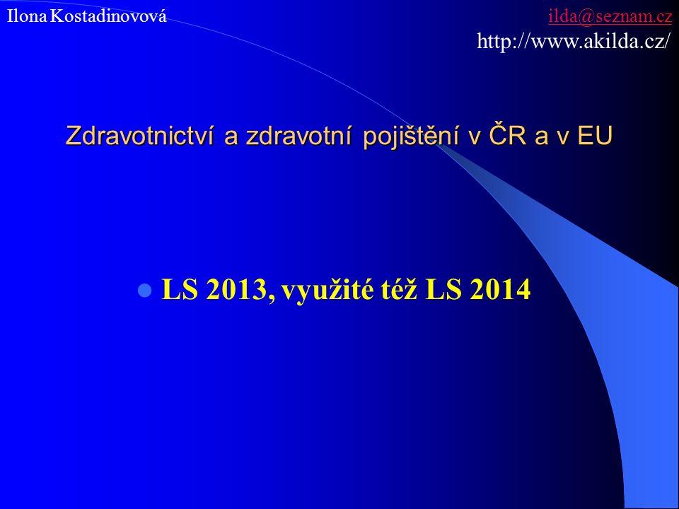 Zdravotnictví a zdravotní pojištění v ČR a v EU LS 2013, využité též LS 2014 Ilona Kostadinovová ilda@seznam.czilda@seznam.cz http://www.akilda.cz/