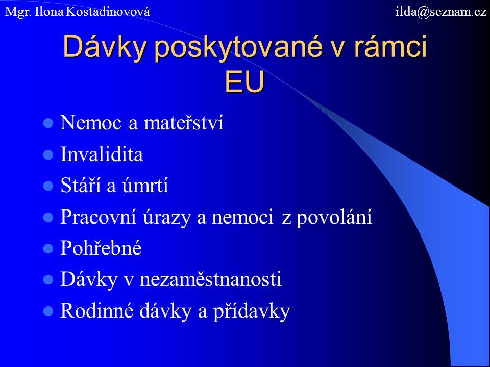 Dávky poskytované v rámci EU Nemoc a mateřství Invalidita Stáří a úmrtí Pracovní úrazy a nemoci z povolání Pohřebné Dávky v nezaměstnanosti Rodinné dávky a přídavky Mgr.