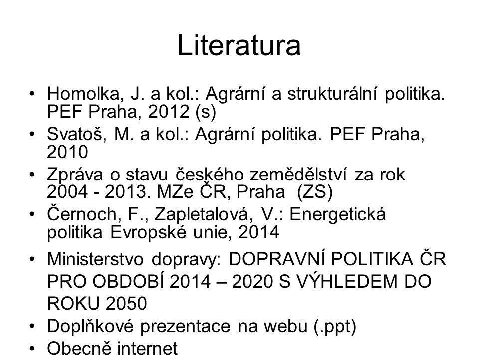 Literatura Homolka, J. a kol.: Agrární a strukturální politika. PEF Praha, 2012 (s) Svatoš, M. a kol.: Agrární politika. PEF Praha, 2010 Zpráva o stav