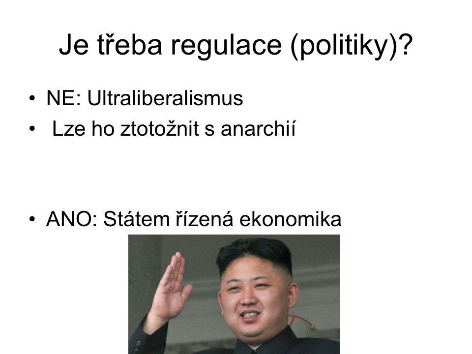 Je třeba regulace (politiky)? NE: Ultraliberalismus Lze ho ztotožnit s anarchií ANO: Státem řízená ekonomika