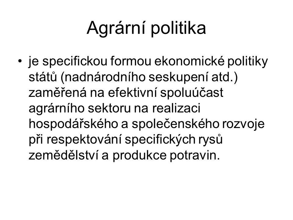 Agrární politika je specifickou formou ekonomické politiky států (nadnárodního seskupení atd.) zaměřená na efektivní spoluúčast agrárního sektoru na r