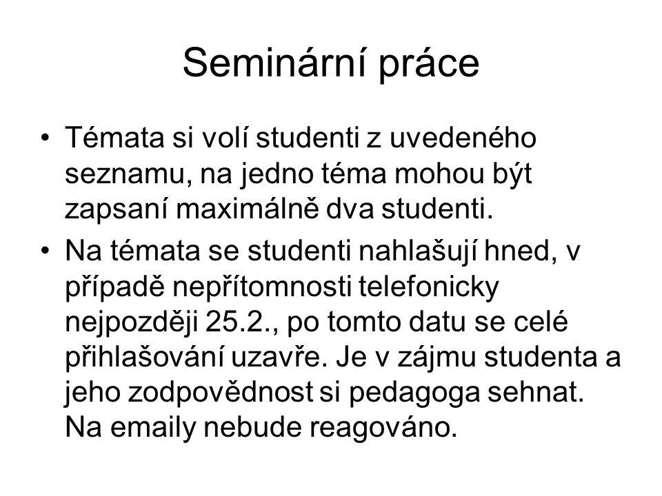 Seminární práce Témata si volí studenti z uvedeného seznamu, na jedno téma mohou být zapsaní maximálně dva studenti. Na témata se studenti nahlašují h