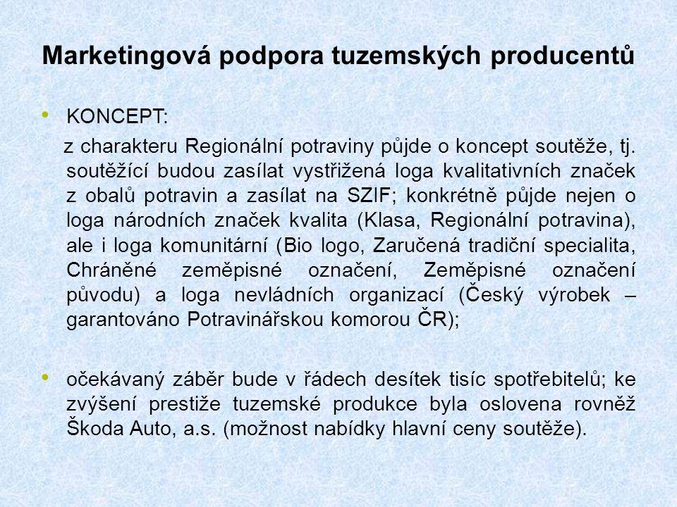 Marketingová podpora tuzemských producentů KONCEPT: z charakteru Regionální potraviny půjde o koncept soutěže, tj.