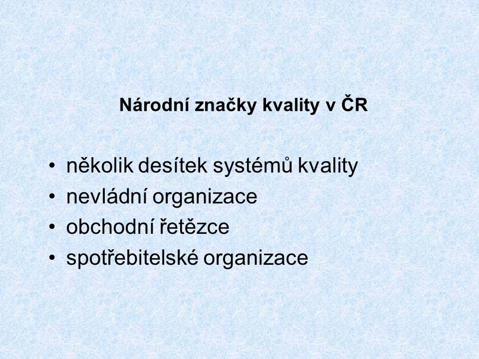 Národní značky kvality v ČR několik desítek systémů kvality nevládní organizace obchodní řetězce spotřebitelské organizace