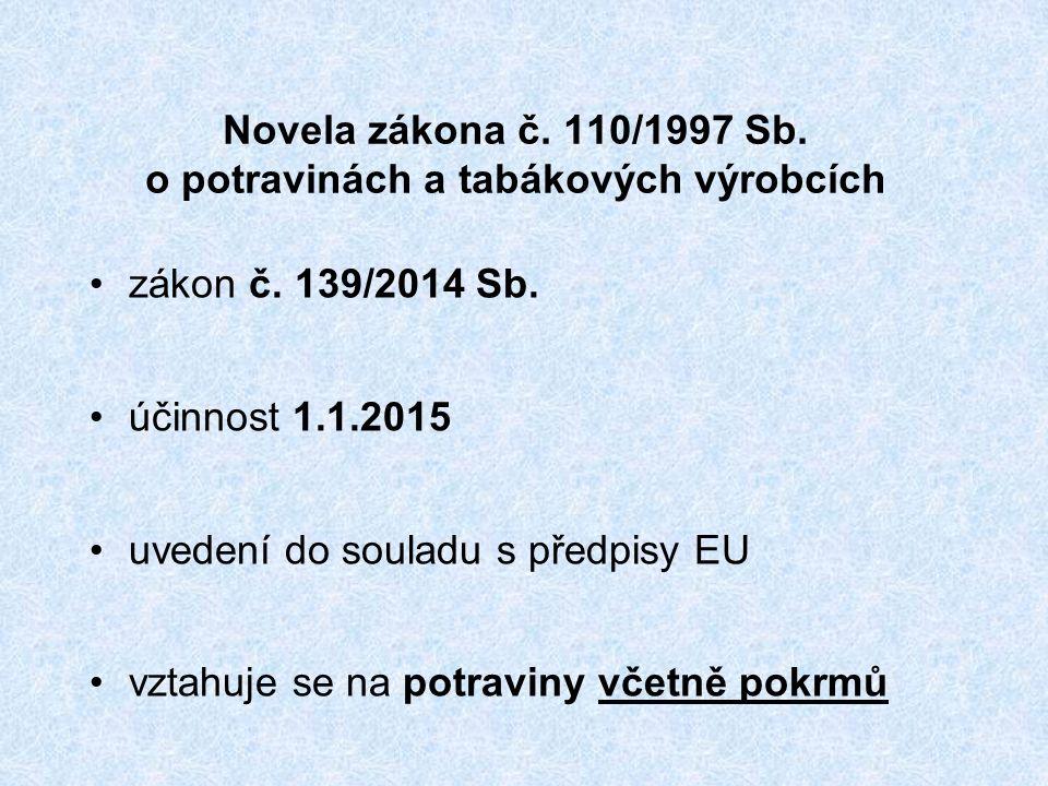 Novela zákona č. 110/1997 Sb. o potravinách a tabákových výrobcích zákon č.