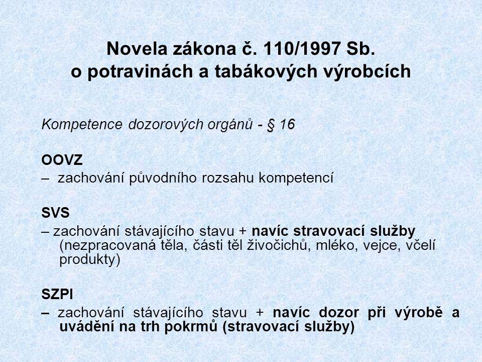 Novela zákona č. 110/1997 Sb.