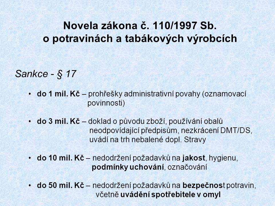 Novela zákona č. 110/1997 Sb. o potravinách a tabákových výrobcích Sankce - § 17 do 1 mil.