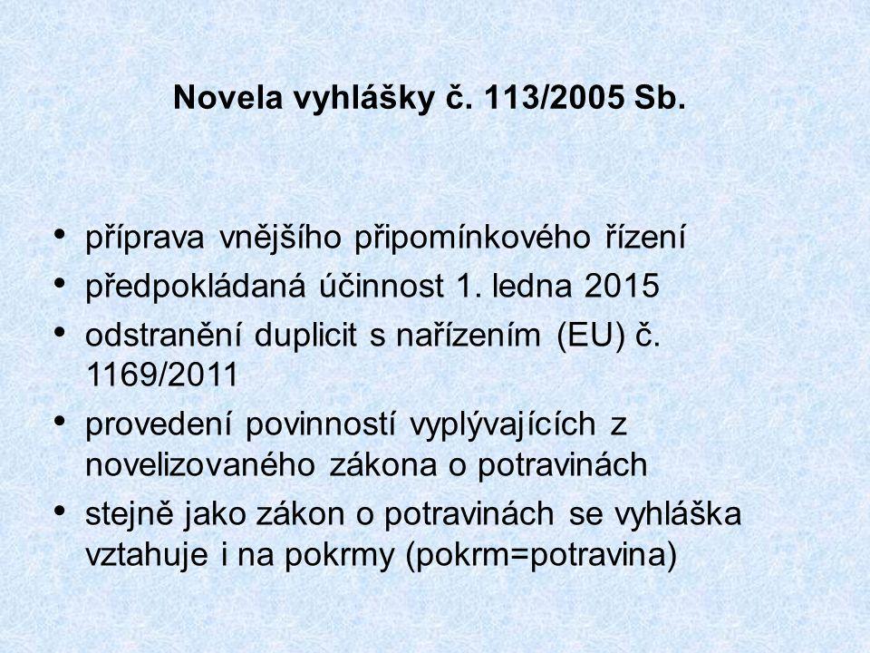 Novela vyhlášky č. 113/2005 Sb. příprava vnějšího připomínkového řízení předpokládaná účinnost 1.